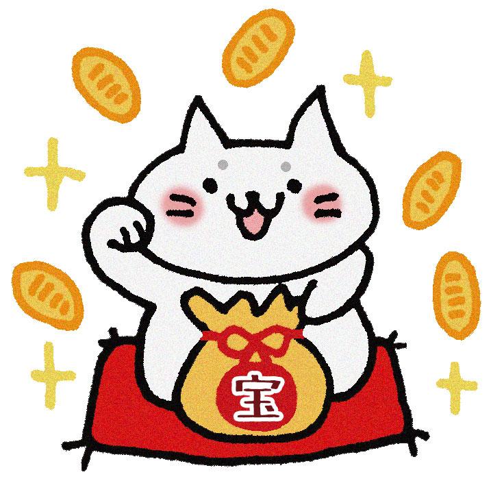 招き猫の周りにお金が散らばる画像