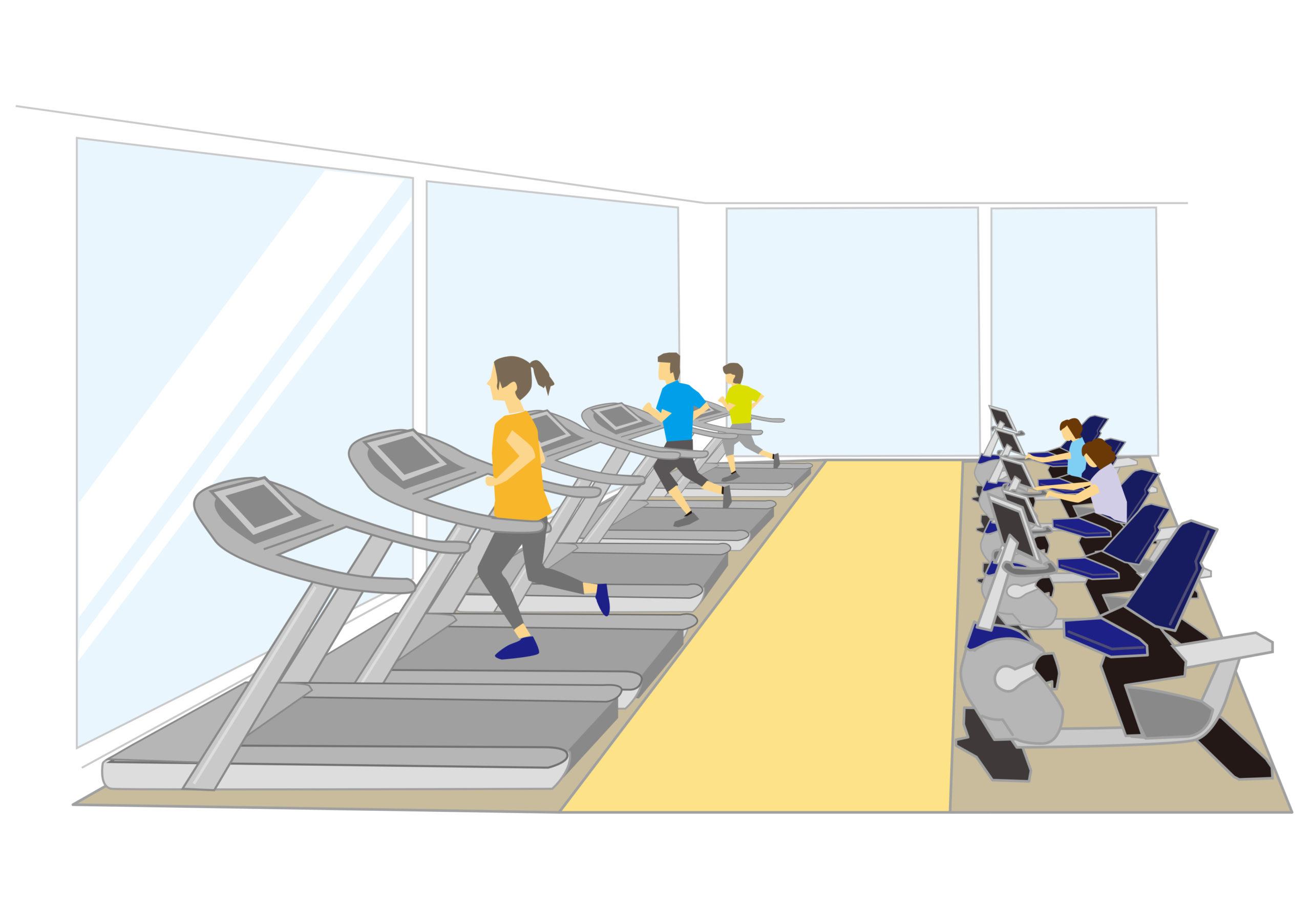 スポーツジムで運動に励む人たち