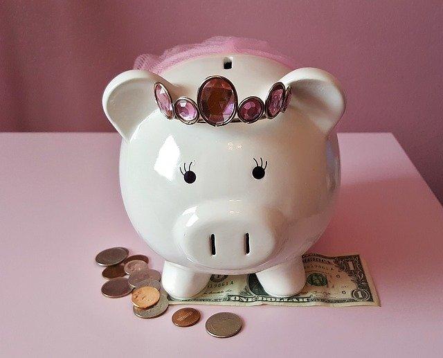 かわいらしい豚の貯金箱